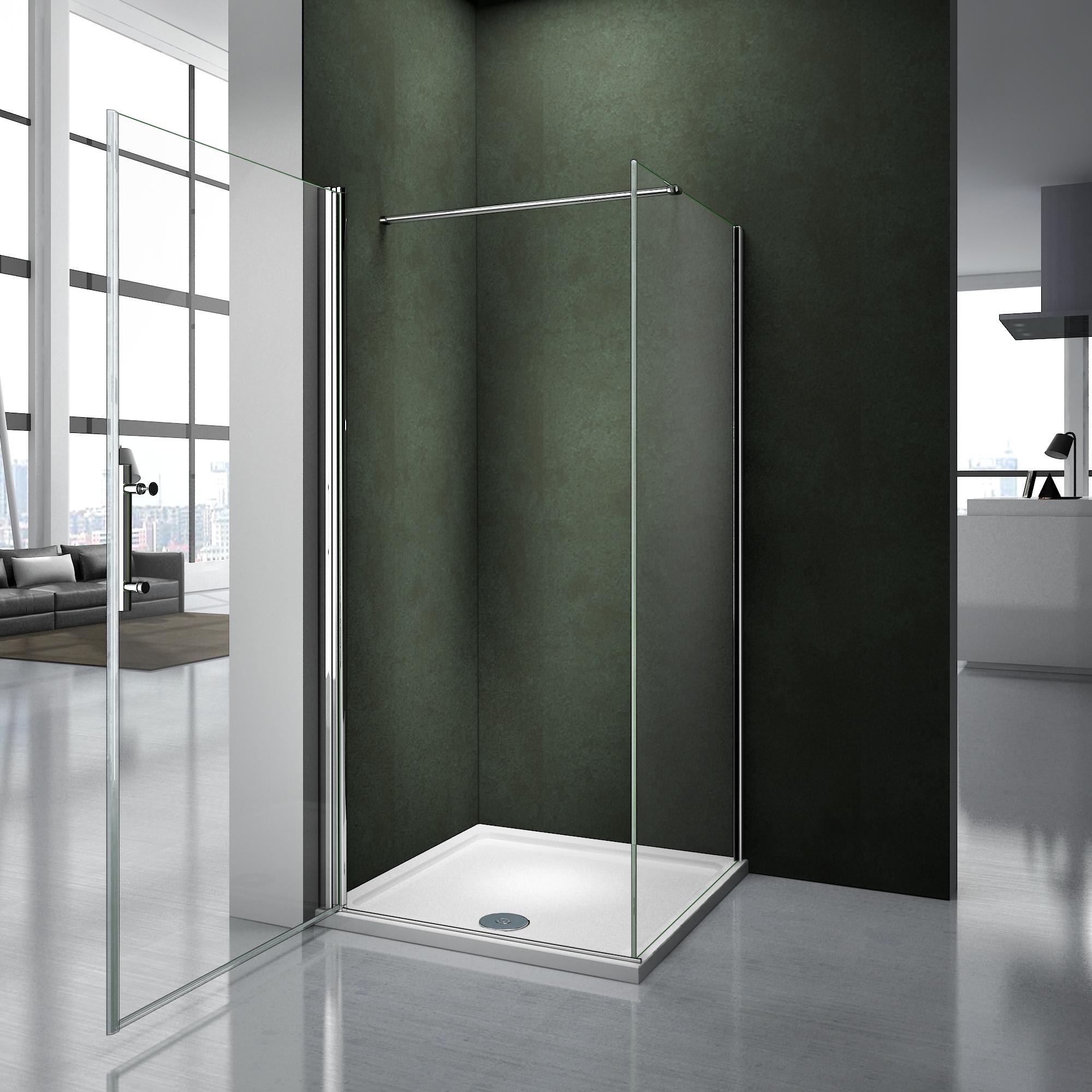 100x90x195cm porte pivotante avec receveur porte de douche paroi de douche ave ebay. Black Bedroom Furniture Sets. Home Design Ideas