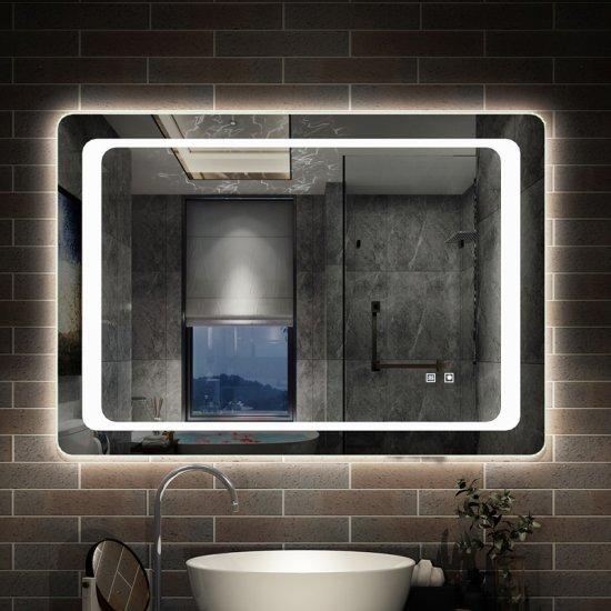 Miroir de salle de bain anti-buée 80x60cm miroir de salle de bain [J-021] -  AICA - Grand choix au petit prix - Paroi de douche,choulissants,Porte de ...