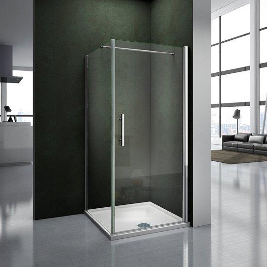 aica porte de douche pivotante 70cm paroi de douche fixe 70cm verre s curit et anticalcaire. Black Bedroom Furniture Sets. Home Design Ideas