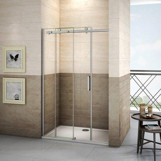 Aica porte de douche coulissante 130x195cm,paroi de douche,8mm verre tremp/é anticalcaire,installation en niche