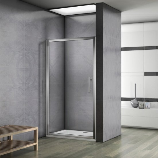 aica 100x185cm paroi de douche porte de douche coulissante escamotable verre s curit. Black Bedroom Furniture Sets. Home Design Ideas