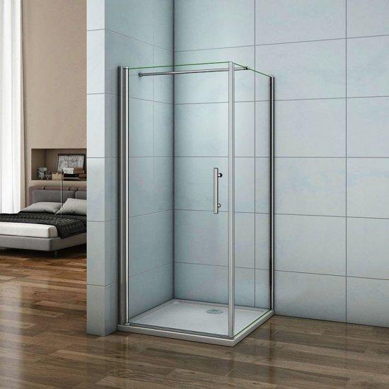 Aica porte de douche pivotante 90cm, paroi de douche fixe 90cm, verre  sécurité et anticalcaire,hauteur 197cm,barre de fixation 140cm ea4a3342cd8