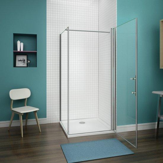 Aica porte de douche pivotante 100cm, paroi de douche fixe 90cm, verre  sécurité et anticalcaire,hauteur 187cm,barre de fixation 140cm 00d5a5ba996
