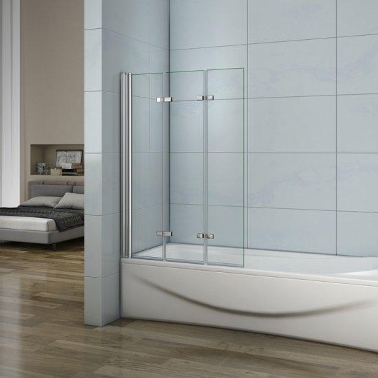 aica pare baignoire 130x140cm en verre anticalcaire paroi de douche 3 volets pivotant 180. Black Bedroom Furniture Sets. Home Design Ideas