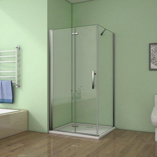 Aica cabine de douche 70x76x195cm verre anticalcaire avec une barre ...