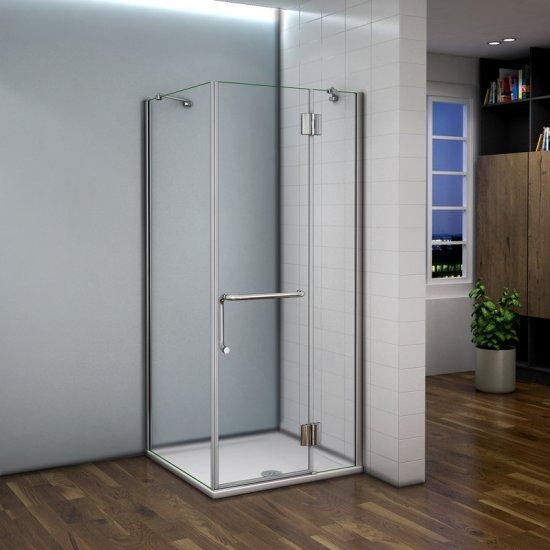 Aica 100x80x190cm cabine de douche porte de douche paroi de douche ...