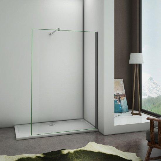 Paroi de douche 50x200cm paroi de fixation /à litalienne avec barre de fixation extensible cylindrique verre anticalcaire