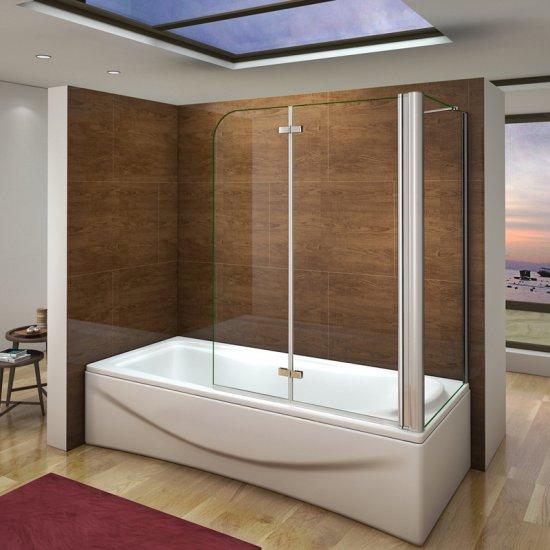 aica pare baignoire 90x140cm paroi de douche fixe 70x140cm cran de baignoire 2 volets. Black Bedroom Furniture Sets. Home Design Ideas