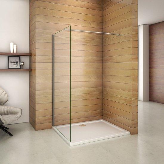 Vitre Anti Calcaire Douche aica paroi de douche 740x1850mm paroi de douche fixe, verre sécurité