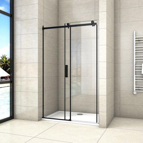AICA porte de douche noire mat 120x195cm porte de douche avec lamortisseur porte coulissante en 8mm verre anticalcaire