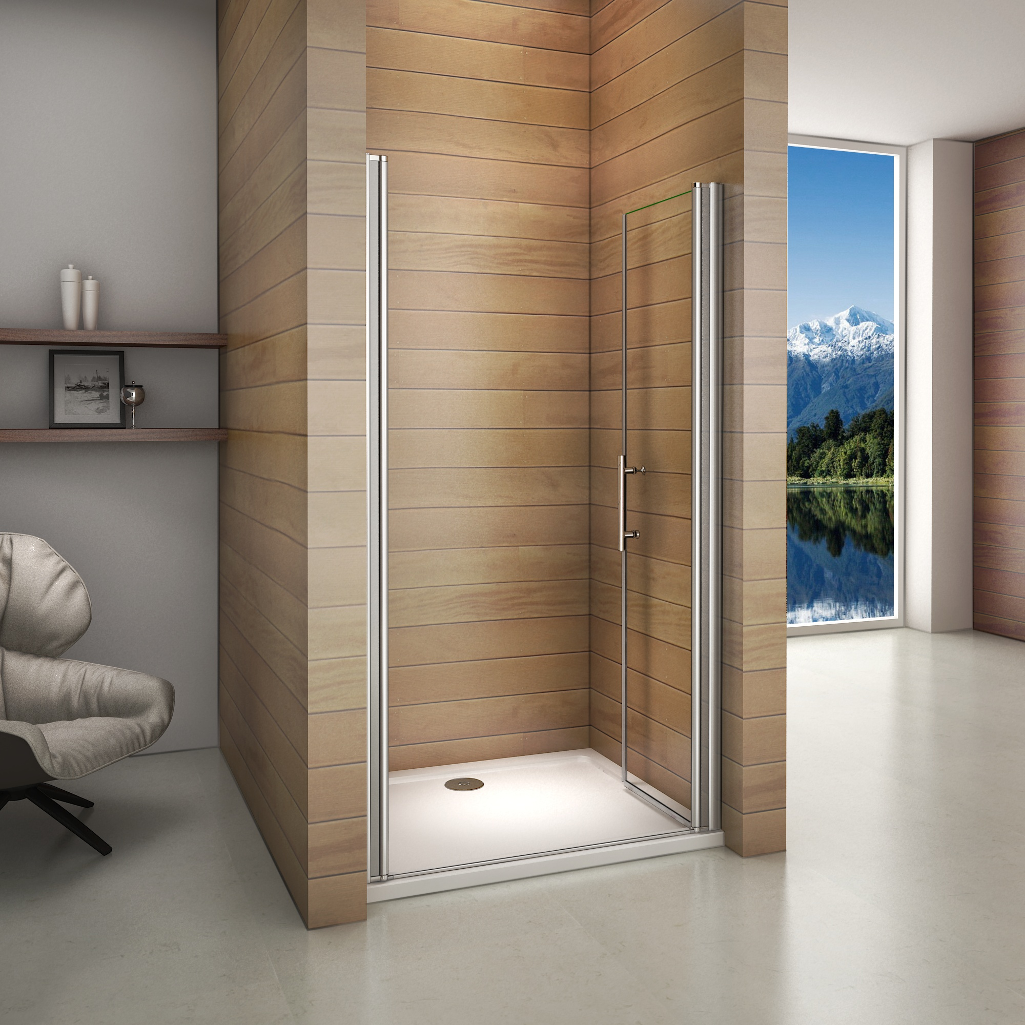 95x195cm porte de douche pivotante et r glable 6mm verre tremp anticalcaire ebay. Black Bedroom Furniture Sets. Home Design Ideas
