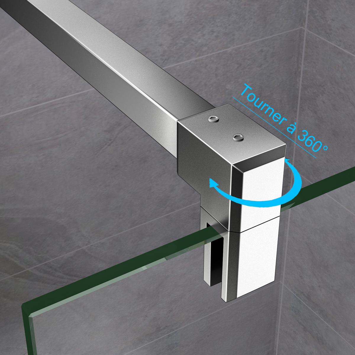 Barre de stabilisation horizontale paroi de douche 140 cm - Barre de stabilisation pour paroi de douche ...