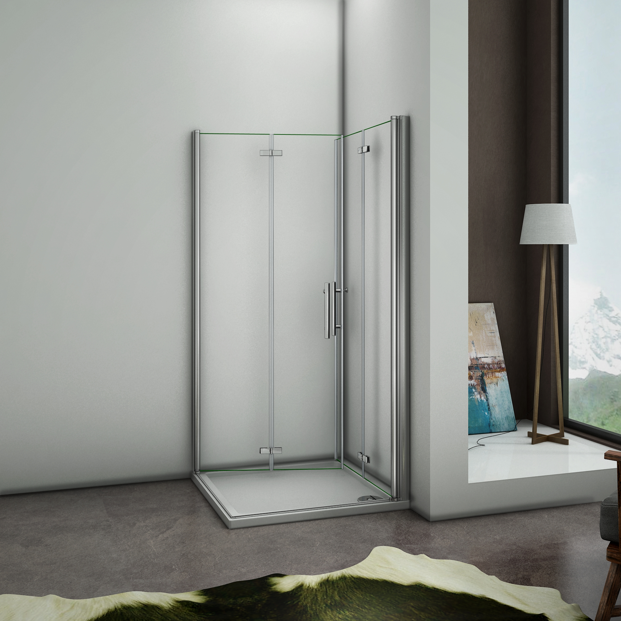 70x70x195cm cabine de douche acc s d 39 angle porte de douche for Mecanisme porte pivotante