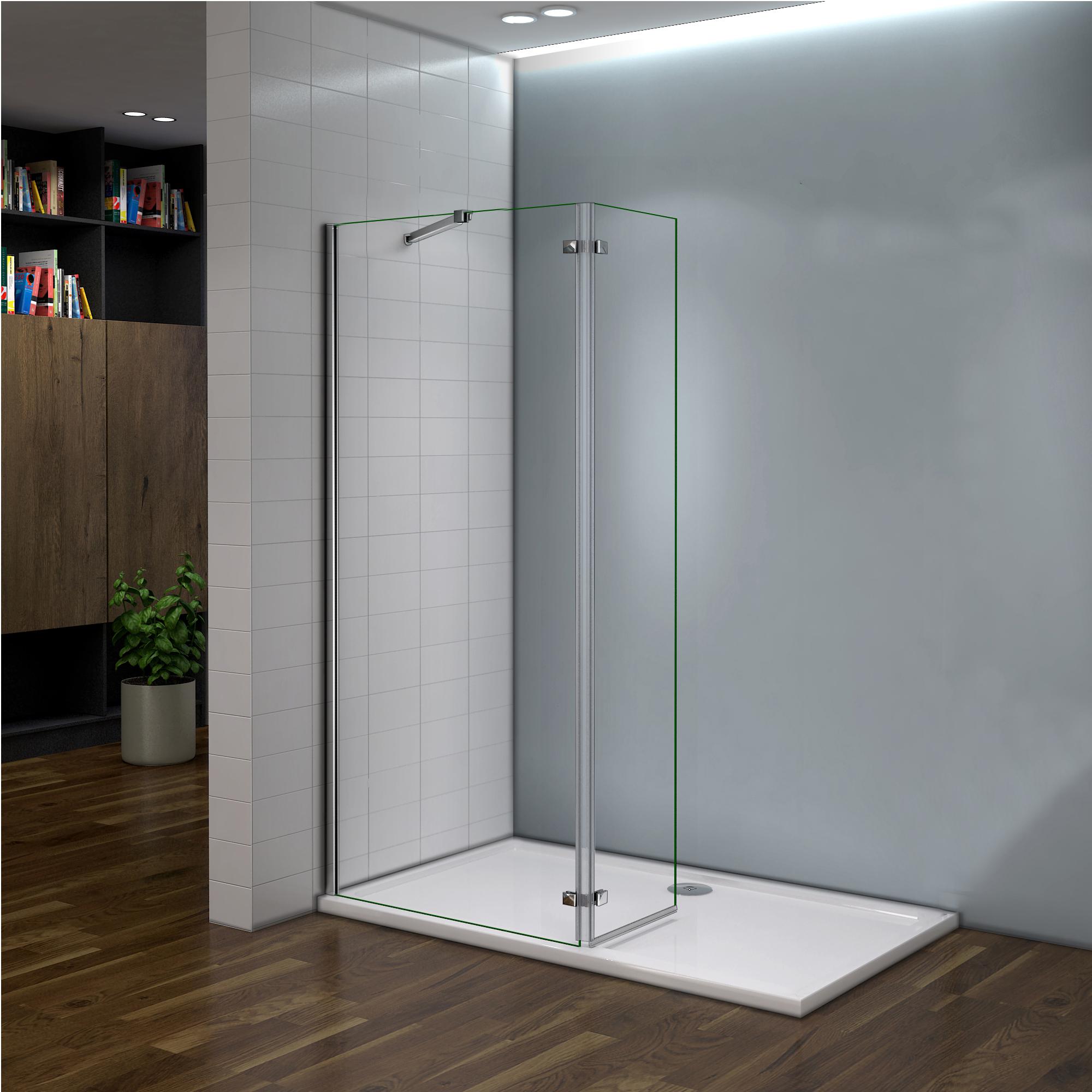 200x90cm paroi de douche avec paroi charni re 40cm - Porte de douche avec paroi fixe ...