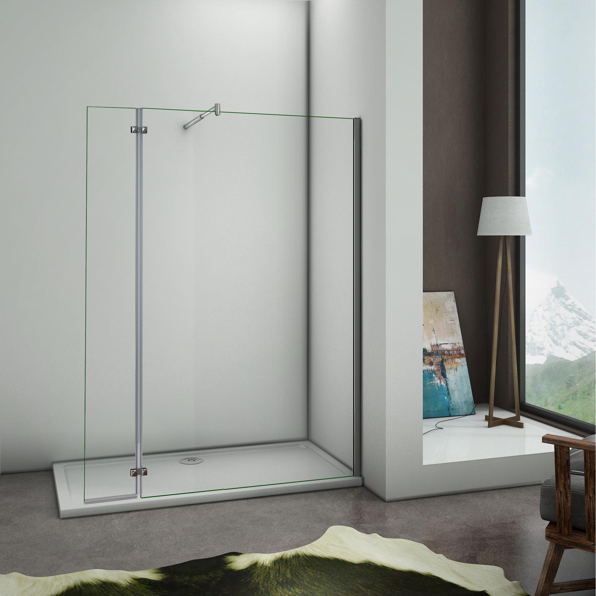 200x100cm paroi de douche avec paroi charni re 40cm. Black Bedroom Furniture Sets. Home Design Ideas