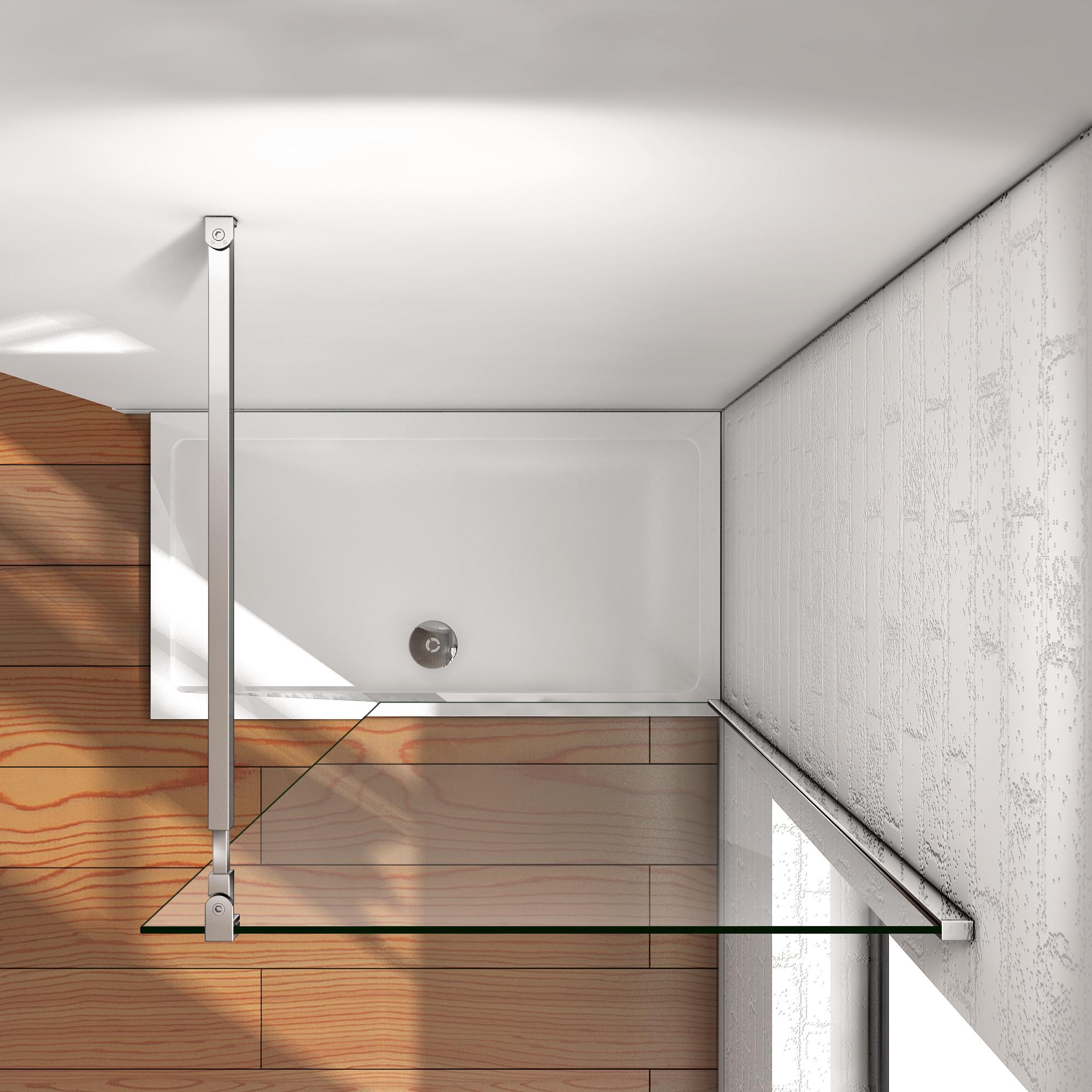 60x200cm paroi de douche italienne barre r glable verre de. Black Bedroom Furniture Sets. Home Design Ideas