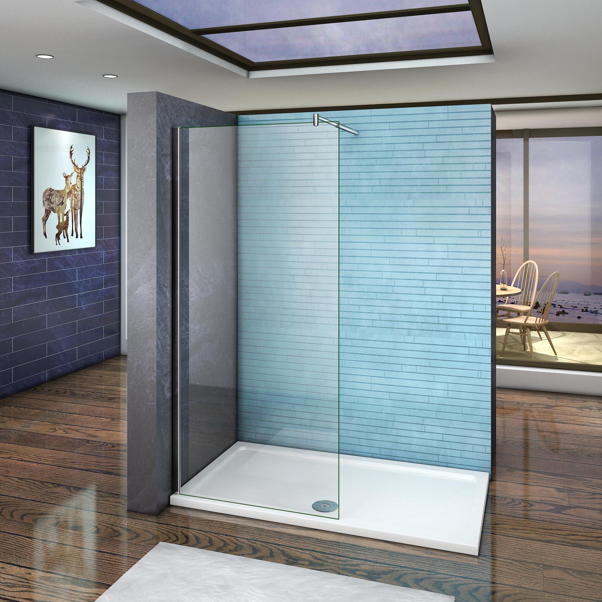 paroi de douche 90x185cm 6mm verre barre de fixation extensible en cylindrique ebay. Black Bedroom Furniture Sets. Home Design Ideas