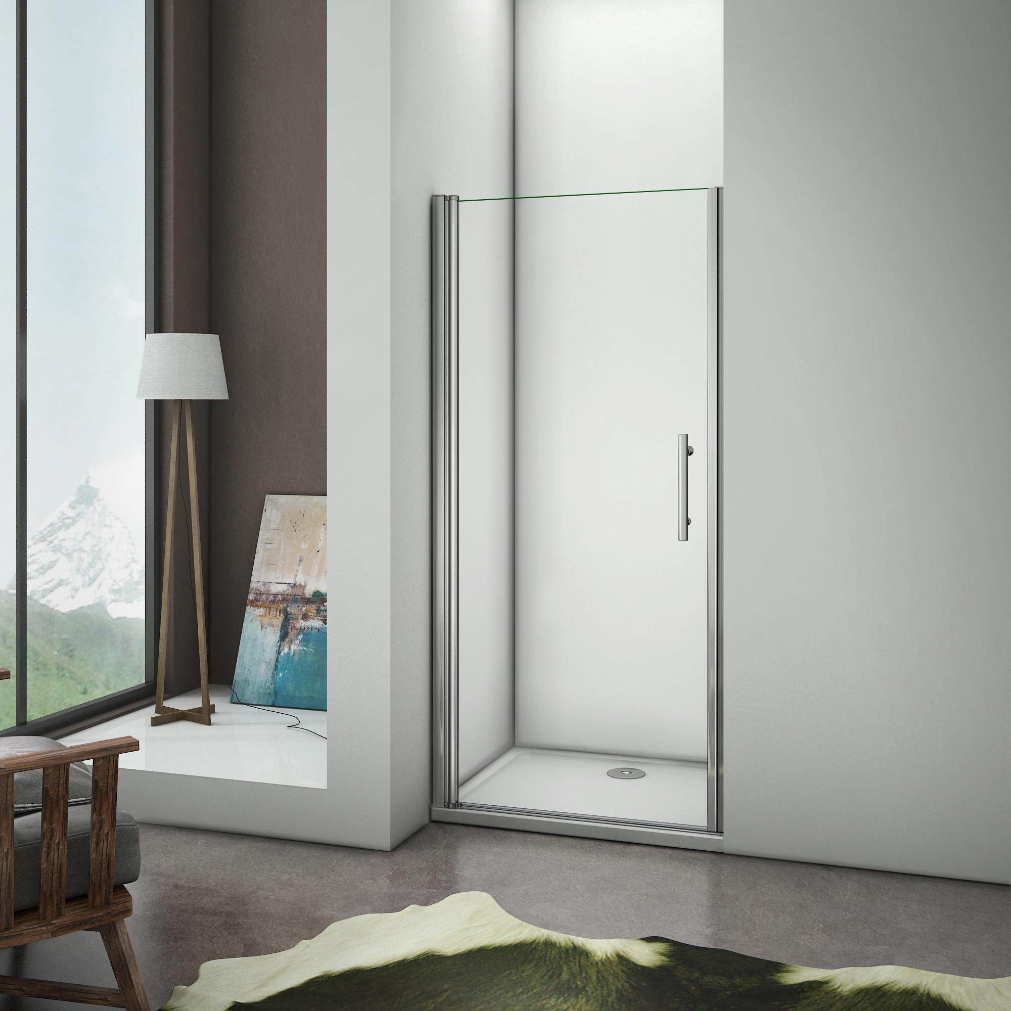 aica porte de douche 76x197cm porte pivotante paroi de douche en niche verre anticalcaire aica. Black Bedroom Furniture Sets. Home Design Ideas