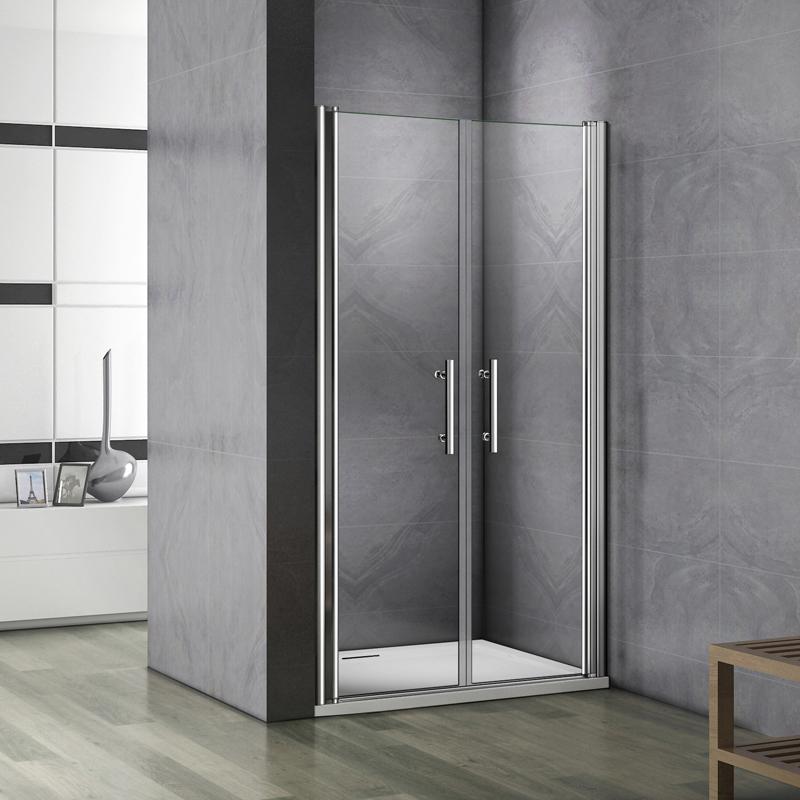 Aica porte de douche pivotante 800x1870mm porte de douche installation en niche verre - Porte douche italienne ...