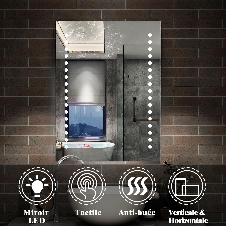 Miroir LED miroir de salle de bain Miroir lumineux anti-buée double touche  tactile modèle de mulpoints 20x20cm [J-20] - AICA - Grand choix au petit