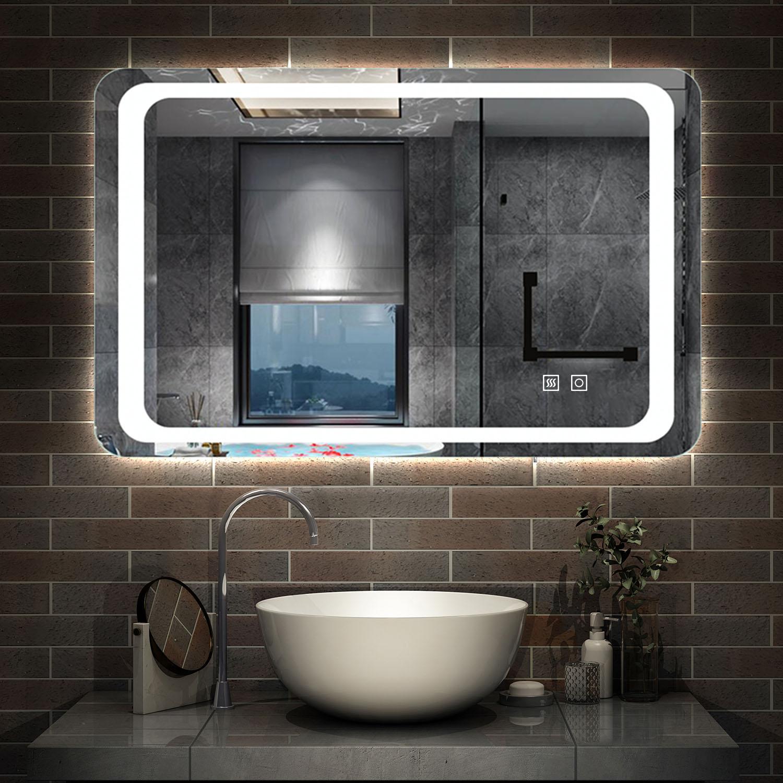 Miroir de salle de bain 17x17cm anti-buée miroir mural avec éclairage LED  modèle Classique plus [J-17] - AICA - Grand choix au petit prix - Paroi de