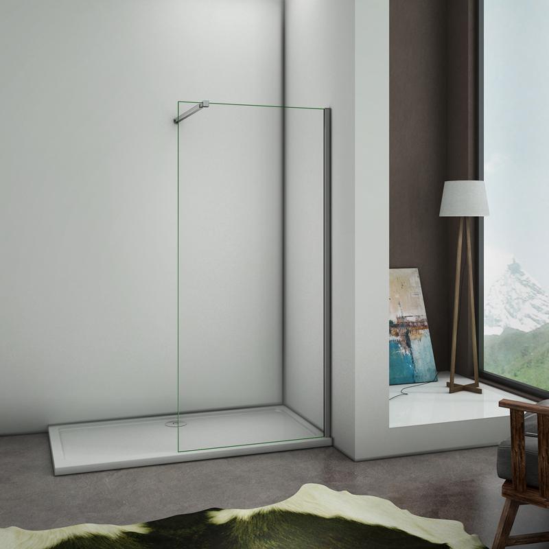 780x1950x6mm paroi de douche walk in verre anticalcaire avec barre de fixation extensible. Black Bedroom Furniture Sets. Home Design Ideas