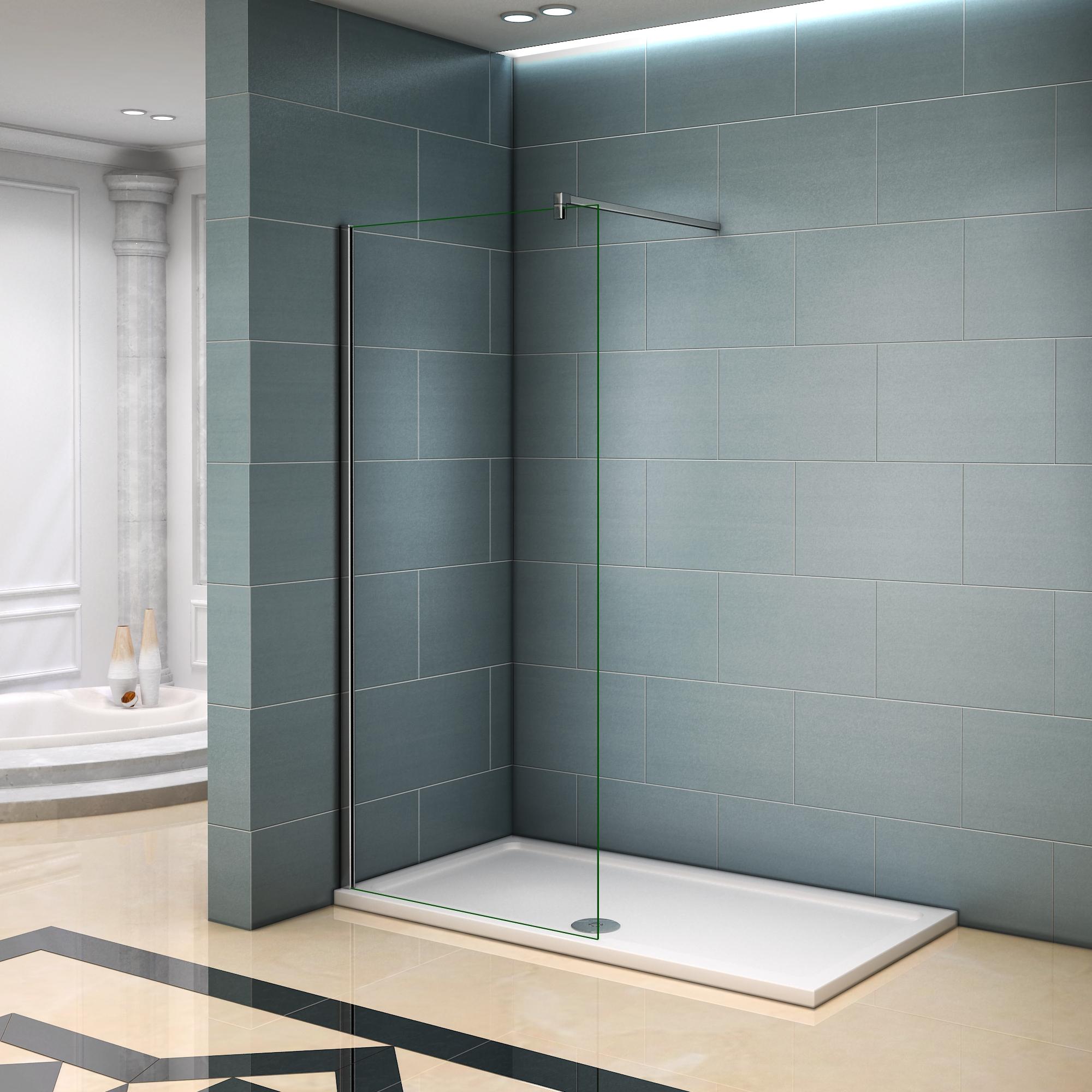 aica paroi de douche 1600x2000x8mm en verre anticalcaire walk in paroi de fixation avec barre de. Black Bedroom Furniture Sets. Home Design Ideas